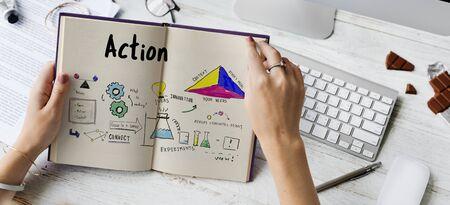 Zakelijke strategie actie succes prestatie schets Stockfoto