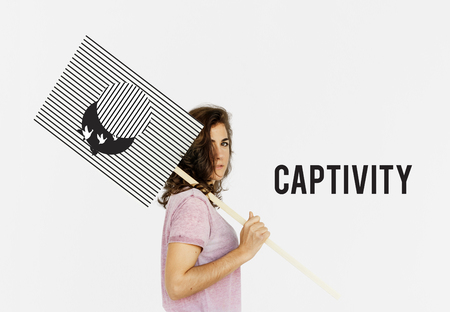 Graphic of bird unleashed from captivity to freedom