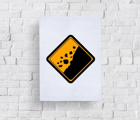 Rockfall 조심 서명주의 배너 콘크리트 벽에 넣어 스톡 콘텐츠 - 80030086