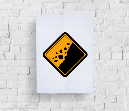 Rockfall Beware Sign Attention Banner Put in Concrete Wall Imagens
