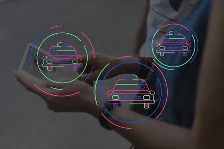 People Using Technology Digital Device with Car Icon Graphic