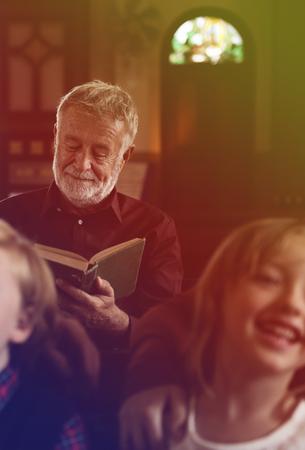 Senior Adult Read Bible Chuch Religion
