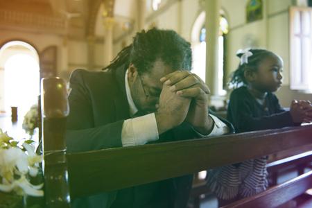 Adult Man Pray Church Faith Religion Stock Photo