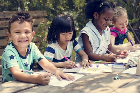 Little Kids Drawing Painting Art Together Stock Photo