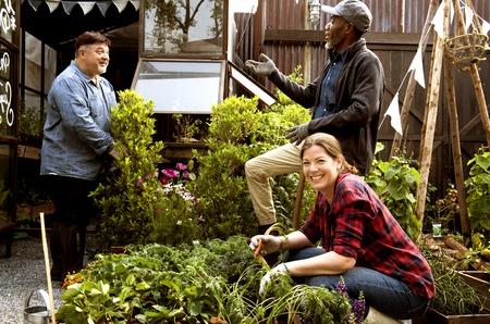 Groep mensen tuinieren achtertuin samen