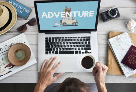 finding: Illustration of discovery journey road trip traveling on laptop