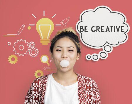 Imagining creative inspiration thought bubble Stock Photo