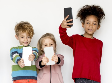 Kid using digital device portrait