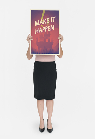 Woman holding network graphic overlay banner Stock Photo - 79901830