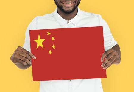 Man Hands Hold China Flag Patriotism Reklamní fotografie