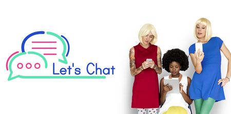 Women with chat concept Stock Photo