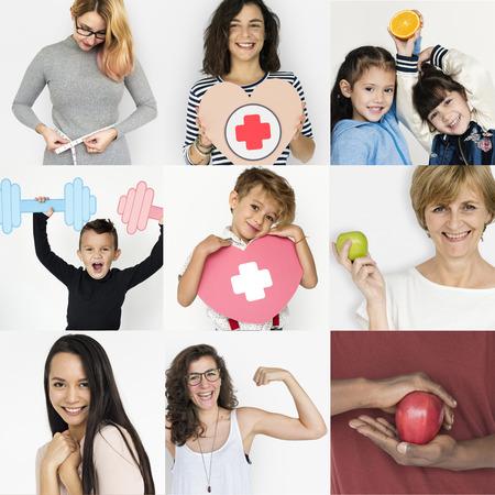 Collages gente diversa salud vitalidad Foto de archivo - 79903088