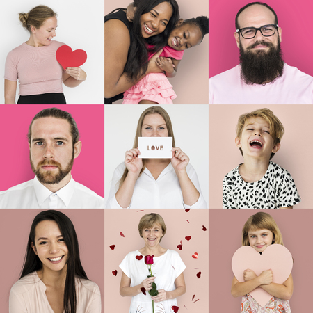 다양성의 집합 심장 사랑 스튜디오 콜라주와 사람들 스톡 콘텐츠 - 79903089