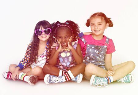 Children Girlfriends Smiling Happiness Friendship Togetherness Studio Portrait Stock Photo