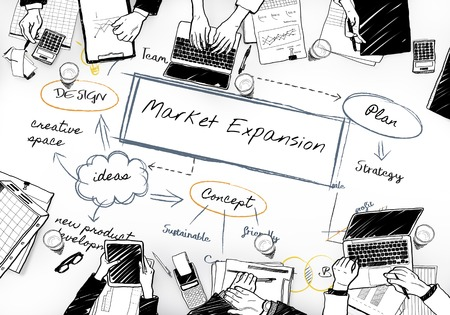 Drawing of market expansion concept Stok Fotoğraf
