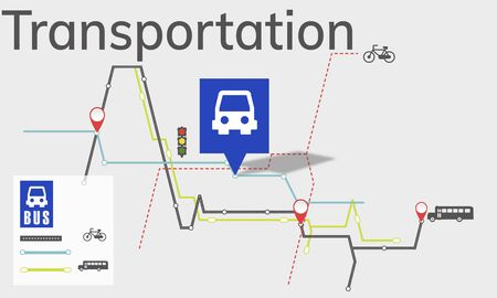 illustrative: Map Route Trip Transportation Location Guide Stock Photo