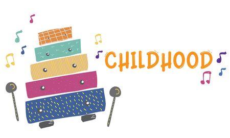 Enfants éducation précoce activités de loisirs musique pour enfants illustration Banque d'images - 80250774