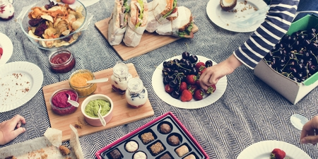 Picnic Lunch Meal Outdoors Park Food Concept Stock Photo
