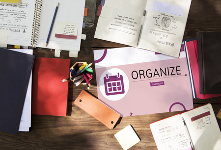 Workspace with illustration of personal organizer reminder calendar