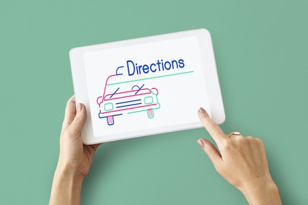 Illustration of automotive car rental transportation on digital tablet