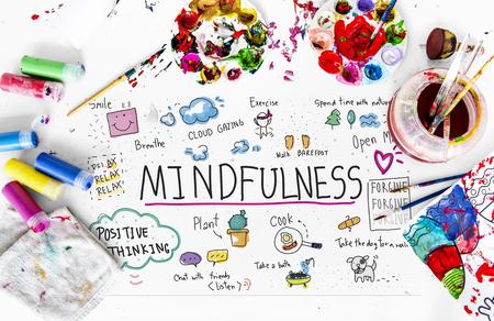 mindfulness 레저 예술 활동의 일러스트레이션