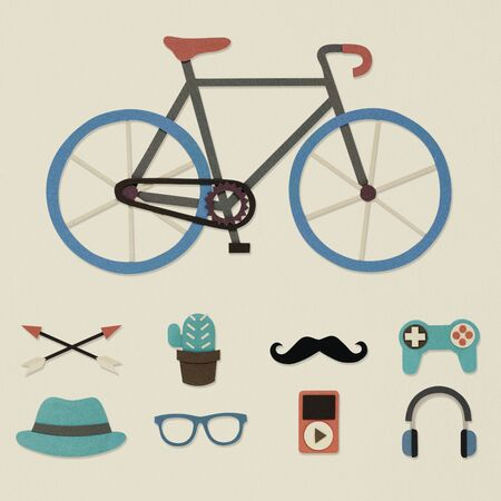Illustration of bicycle and hipster lifestyle culture icon Stock fotó