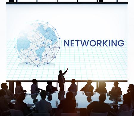 벽에 네트워크 연결 그래픽 오버레이 배너 스톡 콘텐츠