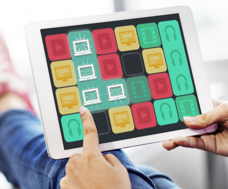 matching: Laptop Matching Line Game Icons Stock Photo