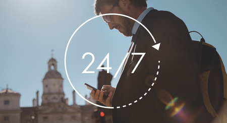 247 all day all night icon illustration Stock Photo