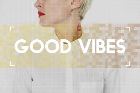 Caucasian woman with good vibes word for inspiration