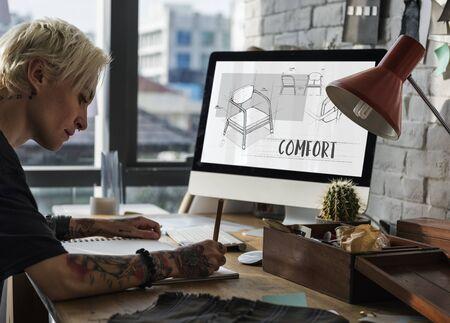 Leunstoel meubel schets plan ontwerp Stockfoto