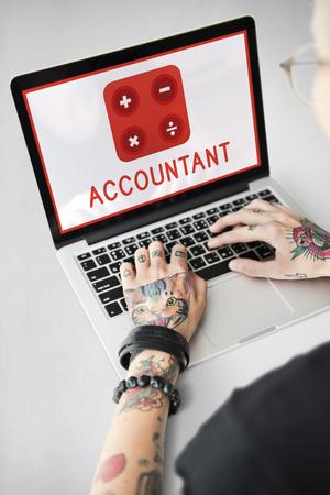 Accountant Wiskunde Financiële Handel Berekenen Stockfoto - 80250134