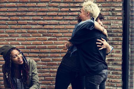 Women Hug Together Friendship Meet Happiness