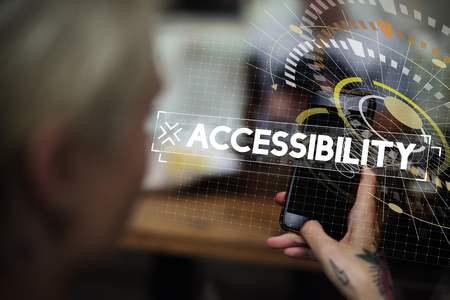Woman using smart phone with accessbility word graphic popup