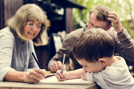 grandkids: Colour Drawing Creative Art Activity Stock Photo