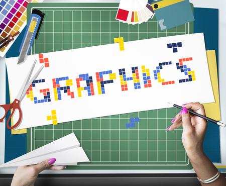 8 비트 단어 창조성 예술 디자인 아이디어의 그림