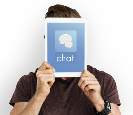 Show Tablet Chat Conversation Bubble Graphic Stock Photo