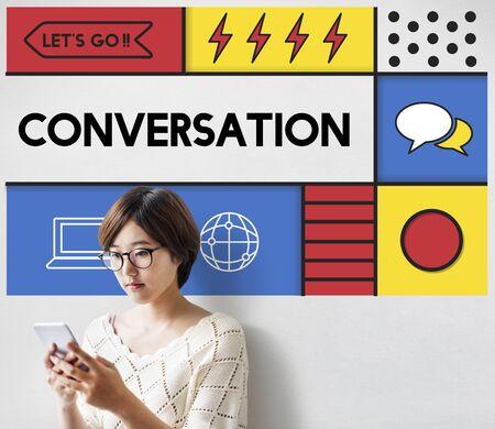 Conversazione Comunicazione Interazione Socialize Concetto Archivio Fotografico - 80274304