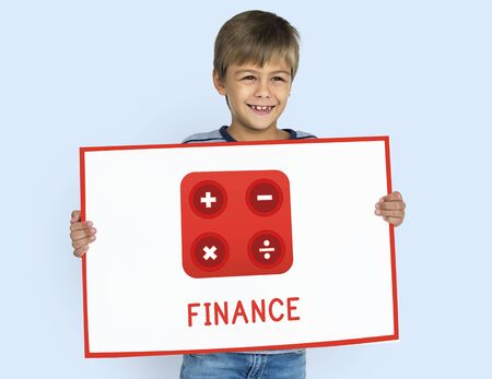 Boy holding banner financial trading investment calculating illustration Zdjęcie Seryjne