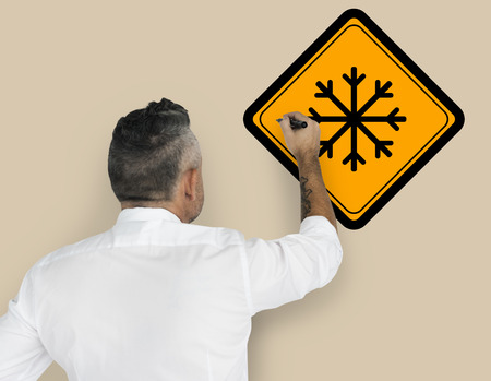 Studio Senior Man Shoot Cold Weather Sign Attention Banner Stock Photo