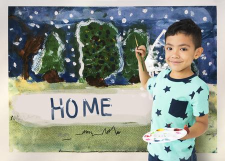 Kinder malen Hause Winter Zeichnung Standard-Bild - 80259591