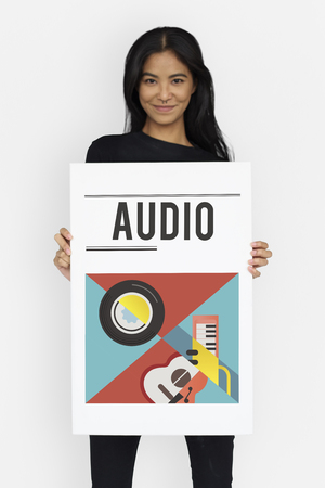 Woman holding banner of music audio passion leisure activity Stock Photo