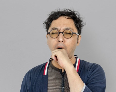 drowsy: Asian Men Adult Yawn Tired Portrait