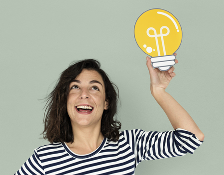 Woman Hold Bulb Think Ideas Creëer Stockfoto
