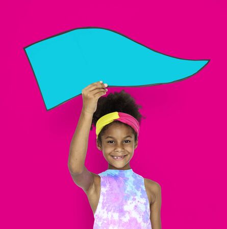 Little African Girl Holding board Stock Photo