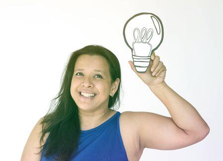 papercraft: Woman holding papercraft light bulb thinking icon Stock Photo