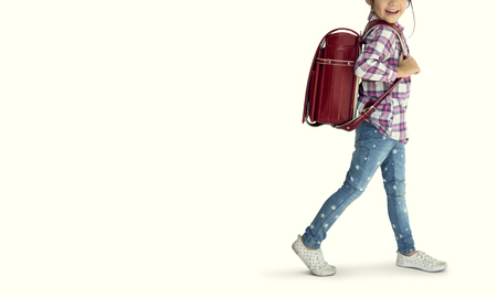 Little cute and adorable student girl is back to school Standard-Bild