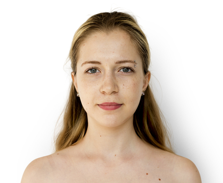 Young Adult Woman Serene Face Expression Studio Portrait Stock Photo