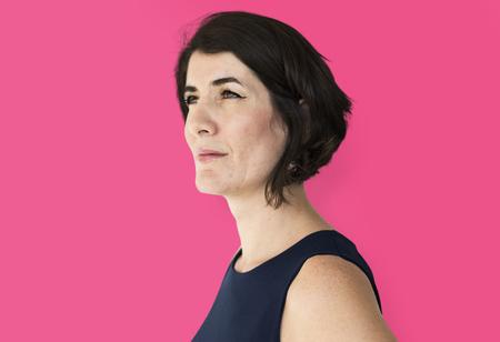 boldness: Senior adult confident woman studio portrait