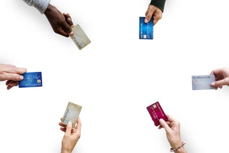 Group of hands holding credit card convenience life with copy space in aerial view Фото со стока - 80188979